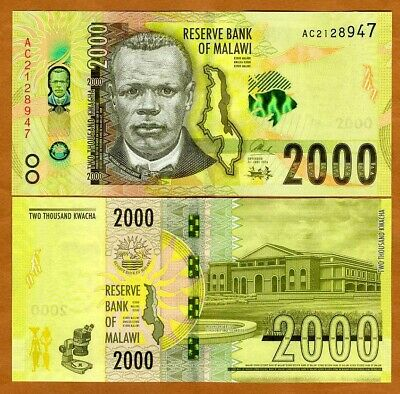 Malawi, 2000 (2,000) Kwacha, 2016, AA-Prefix P-New, UNC   Highest Denomination