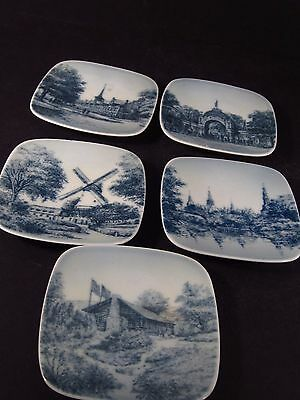 Bing & Grondahl Butter Pats Denmark SET OF 6 DIFFERENT SCENES Square