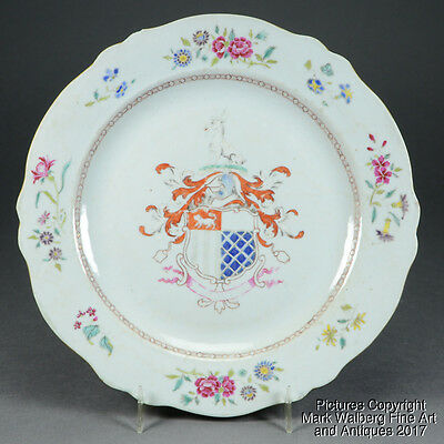 Chinese Export Porcelain Armorial Plate, Coat of Arms, Famille Rose Flowers 18 C