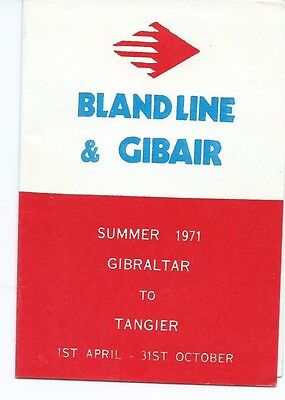 Gibair & Bland Line Airline & Ferry Summer Timetable 1st April 1971