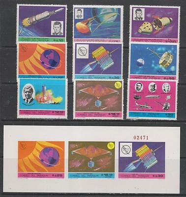 PARAGUAY - 1970 ?  SPACE - 9 x Stamps + Miniature Sheet, MNH