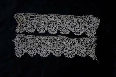 ANTIQUE 19th 2 PIECES HAND WORKED HONITON LACE (4696)