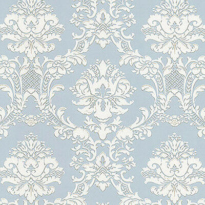 6 Roll LOT- Victorian Damask Silvery Blue Wallpaper FREE SHIPPING