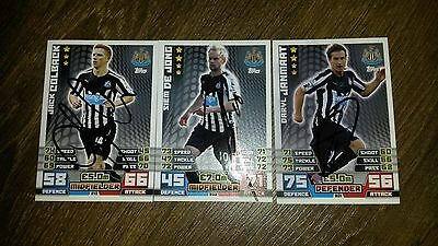 Set Of 3 Hand Signed Newcastle 14/15 Match Attax Cards