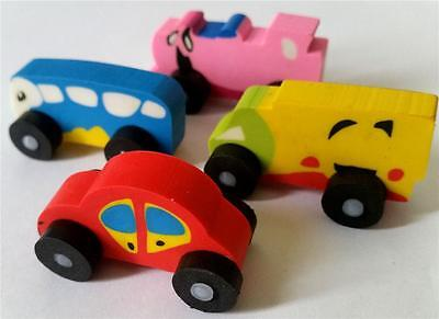 Bulk Lot x 6 Mixed Vehicles Rubber Erasers Kids Party Favors Novelty Stationery