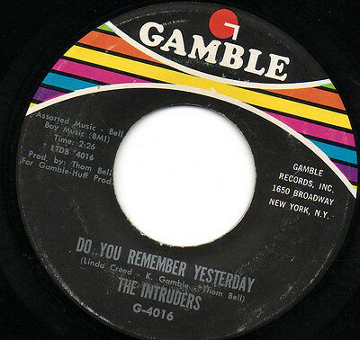 Intruders - Do You Remember Yesterday - Northern Soul - Modern - Crossover  1970