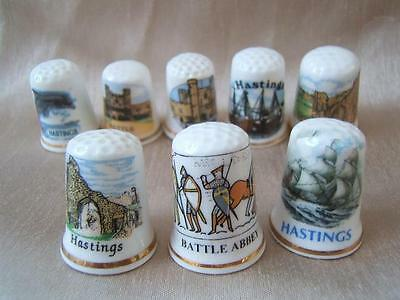 8 x HASTINGS and BATTLE china THIMBLES 1066 East Sussex local interest