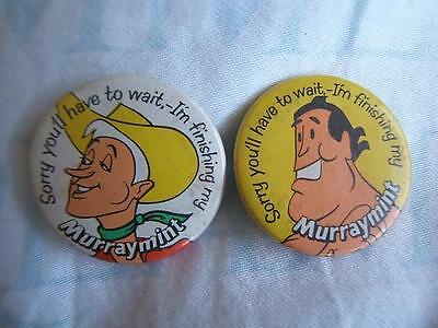 2x vintage MURRAY MINTS adveritising PIN BADGES Hero and Cowboy I'm finishing my