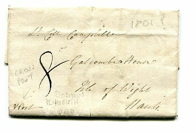 1801. A Very Rare Bodmin/plymouth Cross Post Road Cover. Bodmin To Plymouth Road