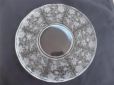 "Vtg Cambridge Wildflower Etched 14"" Rolled Edge Scalloped Torte Plate Platter"