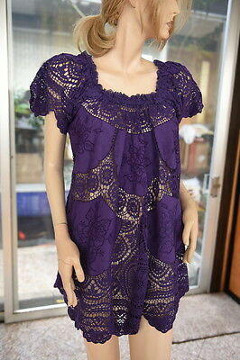 Lim's Cotton Hand Crochet & Embroidery Dress Or Tunic Purple M (One Size)