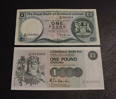 lot of 2 bank note Royal Bank of Scotland One Pound 1972 P336 VF 1985  P211 EF