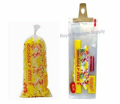 "Pack Of 100 Heap-O-Corn 3 oz Popcorn Bags 18"" Long With Twist Ties Gold Medal"