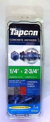 Tapcon 8-Count 1/4-in x 2 3/4-in Blue Steel Self-Tapping Concrete Screws (24130)