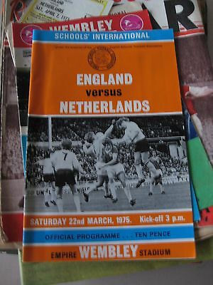 Program & Ticket 22.3.1975 England v Netherland Schools International + Itinary