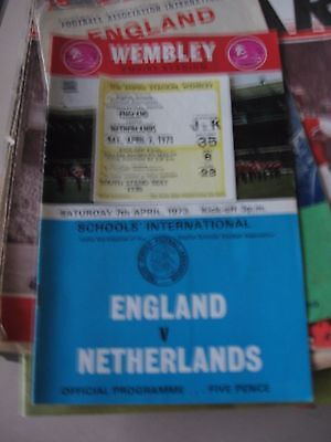 Programme & Ticket 7.4.1973 England v Netherland Schools International