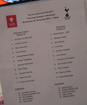 Stevenage Tottenham  Official 2016  Coloured Youth Cup Team Sheet