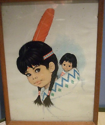 Old Framed Print? Of Red Indian Girl Feather  In Hair Doll In Papoose Picture