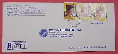 1998 Jamaica $25 Qeii Tri Franked Registered Airmail Cover To Usa