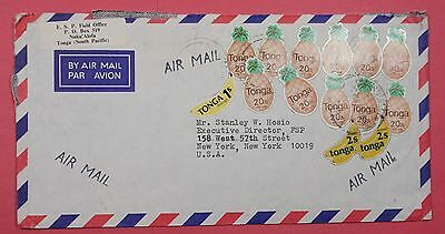 C. 1980 Tonga Multi Franked Airmail Cover To Usa Bananas Pineapples