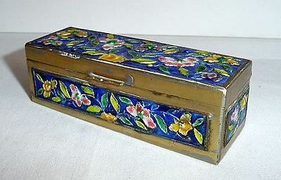 Antique Chinese Cloisonné Three Section Stamp Box Cobalt Blue Enamel on Brass NR