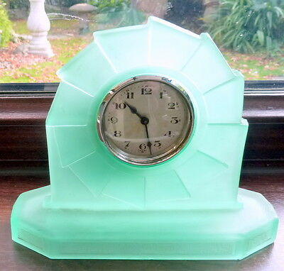 "Art Deco Uranium Green Glass Clock -  "" Wyndham"" by Bagley"