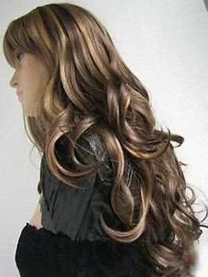 vogue long curly brown mix blonde hair wigs for modern women wig