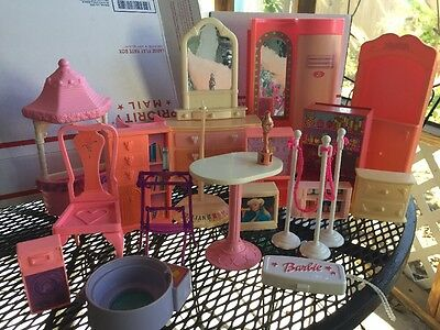 Lot Vtg Barbie Doll Furniture Table Wishing Well Theater Poles Bookcase Bedding