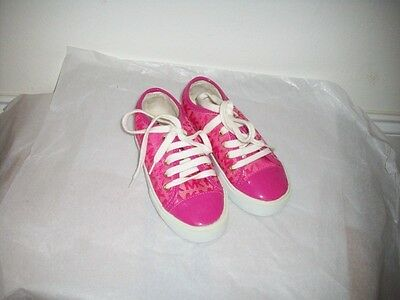 Michael Kors Girls Kids MMK Sneaker Canvas Lace Up Fushia Size 11 NWB