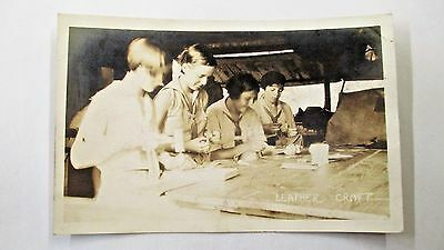 Rppc Leather Craft Girl Scouts Real Photo Vintage Unused Postcard