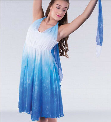 In Stock Floaty Blue White Mix Lyrical Modern Contemporary Dress Dance Costume