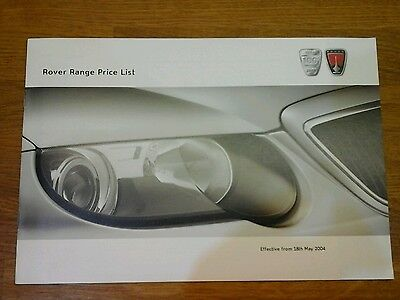 Rover Range 25 45 75 Price List Brochure 2004 8 Pages