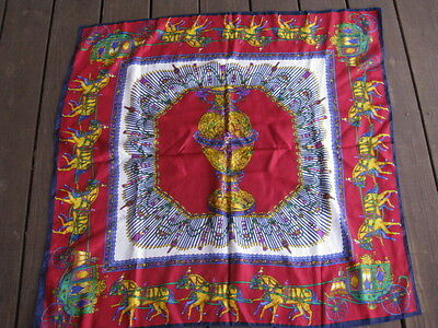 Vintage Large English Scarf With Horses And Carriages