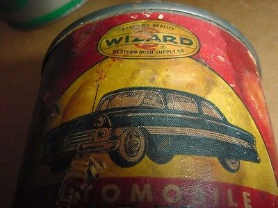 NOS FULL 1950s Vintage WESTERN AUTO WIZARD AUTO PAINT Old Car Graphics Oil Can