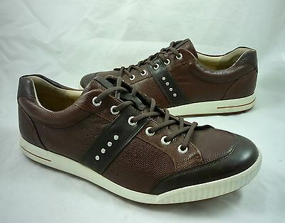 ECCO Men's 13 47 Street Premiere Leather Spikeless Golf Shoes Brown Reg $150 NEW
