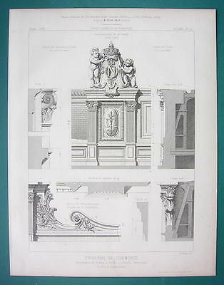 ARCHITECTURE PRINT 1866: PARIS Tribunal fo Commerce Exterior Details