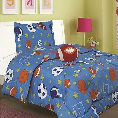 Sports Kids Comforter Bed Set 3pcs Twin Size with Toy