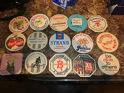 Collection of 15 vintage British Beer mats from the 1950's 60,s job lot x15
