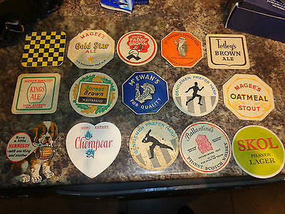 Collection of 15 vintage British Beer mats from the 1950s 60s job lot x15