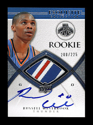 Russell Westbrook 2008-09 Exquisite 3 Clr RC Rookie Killer Patch Auto #/225 UD