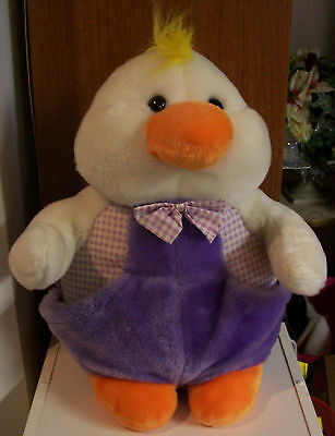 "Easter Large Duck Plush Toy 14"" White Baby Chicken with Lilac Overalls - Germany"