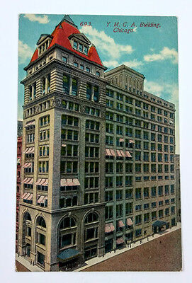 Chicago~YMCA Building~early 1900s~red and white awnings~postcard~unused