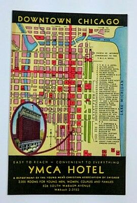 Chicago~YMCA Hotel~Easy to Reach~Convenient to Everything~Downtown Map~unused