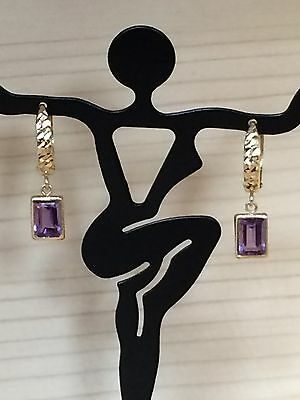 Beautiful 14k Yellow Gold Amethyst Hoop Dangle Earrings GREAT GIFT!!