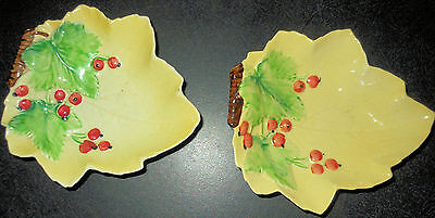 2 Carlton Ware Yellow Leaf Dishes with Cherries or Berries