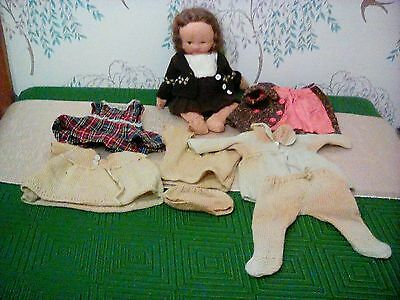 Antique soft/rag doll with handmade clothes Marcel wave style hair 1920s  rare