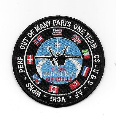 """F-35 Lightning II Air Vehicle """"Out of Many Parts One Team"""" patch"""