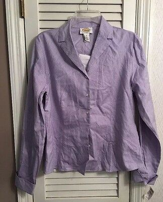 NWT Talbots Size 12 Purple Blouse Long Sleeve Top Button Front Shirt