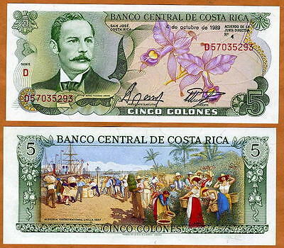 Costa Rica, 5 Colones, 1989, Pick 236d, UNC -  colorful