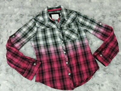Justice Girls Size 10 Pink Black Plaid Ombre Button Down Shirt